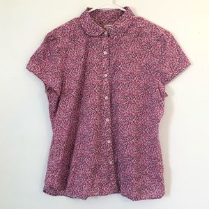 L.L. Bean Short Sleeve Button Up in Floral Size L